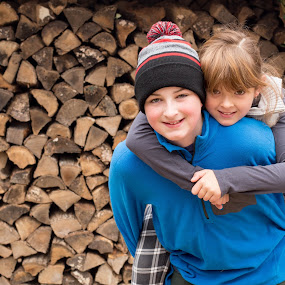 Say Cheese by Jennifer Bacon - Babies & Children Children Candids ( two, winter, wood, outdoors, fall, kids, smile )
