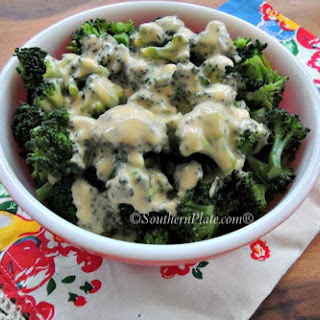 Broccoli with Homemade Cheese Sauce.
