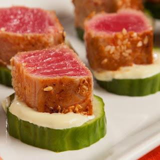 Blackened Seared Tuna with Wasabi Mayo on Cucumber