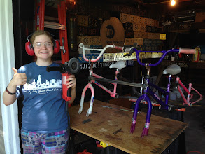 """Photo: MK showing her skills with the 4"""" angle grinder"""