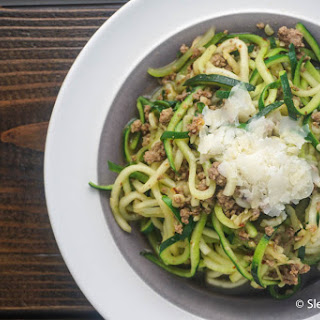 Garlic Parmesan Zucchini Noodles with Sausage