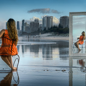 Beach Mirror by Daryl James - People Fashion ( mirror, orange, reflection, beach, city, au, landscape, Chair, Chairs, Sitting )
