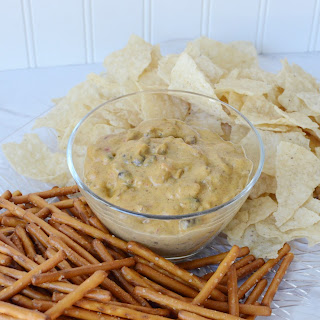 Dairy-Free Chili Cheese Dip with Gluten-Free Pretzels and Chips Recipe