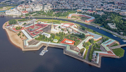 Aerial-SPB-Peter_and_Paul_Fortress.jpg -  Aerial view of Peter and Paul Fortress in St. Petersburg, Russia, the oldest area of the city.