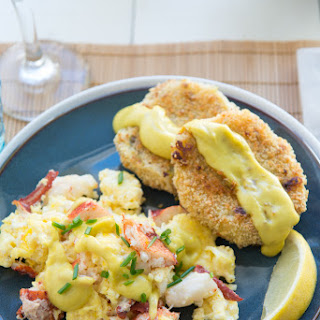 Lobster Scrambled Eggs with Wasabi Hollandaise and Crispy Leek and Potato Cakes #Festivus.