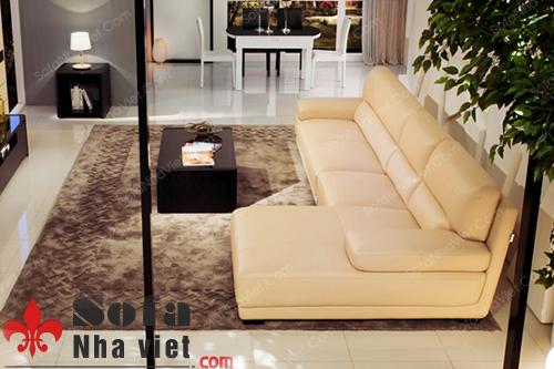 Vẻ đẹp chính thống của mẫu sofa da với thiết kế góc L sang trọng