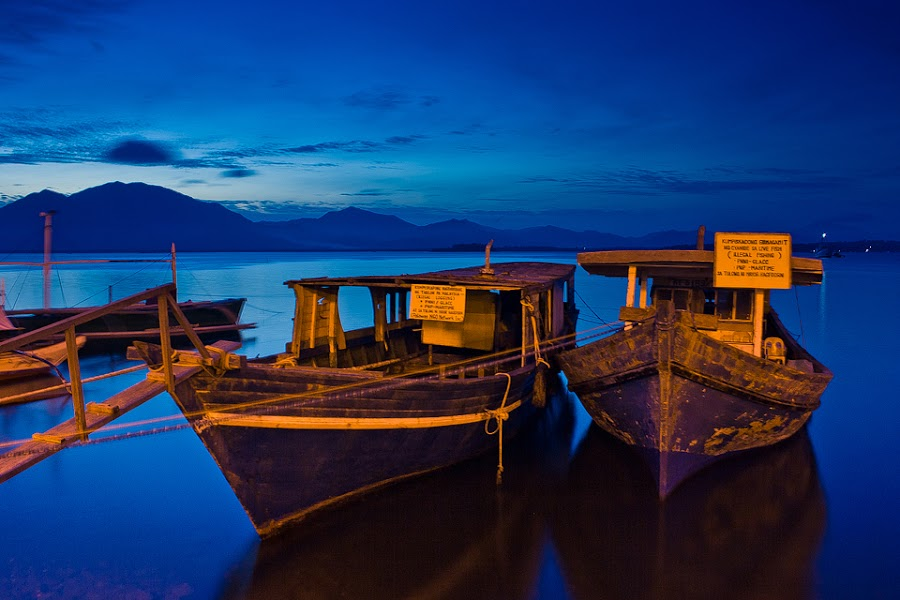 Blue hour boulevard by Eric Montalban - Transportation Boats ( blue, blue hour, boats )