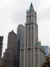 "Photo: Cass Gilbert's Woolworth Building, ""The Cathedral of Commerce,"" Lower Manhattan, 1910-1913. ""Both for its exterior and interior, the Woolworth building is even today one of the most remarkable buildings in New York City. Many buildings have surpassed it in height, but not in splendor."" http://www.aviewoncities.com/buildings/nyc/woolworthbuilding.htm"