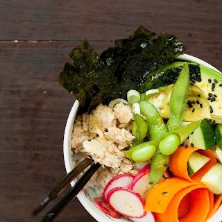 Salmon Sushi Bowl with Wasabi-Turmeric Dressing.