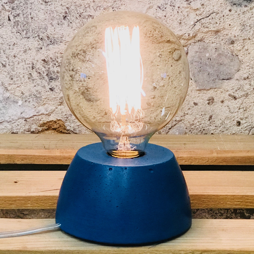 lampe béton bleu pétrole design fait-main création made in france