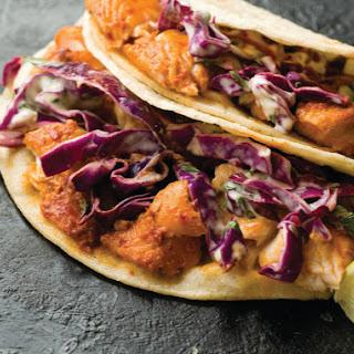 Guajillo-Chile Fish Tacos with Cabbage Slaw