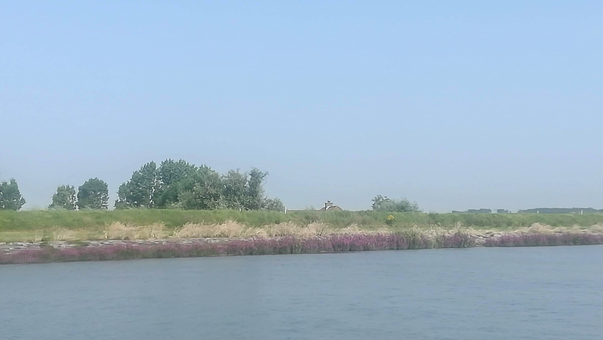 Zo typisch Nederlands: een puntje dak boven de dijk uit.