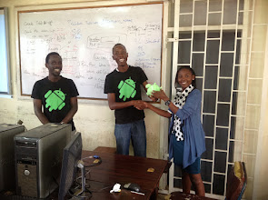 Photo: A student developer wins Google Swag for coding the application involving data storage with SQLite fastest