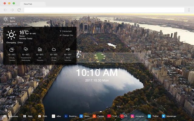 Central Park New Tab HD Popular Scenery Theme