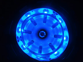 Photo: Now this looks better. Decided to place the LED strip facing inside the core. With this orientation, the blue light diffuses to the white plastic surface at the center, which produces an acceptable effect.