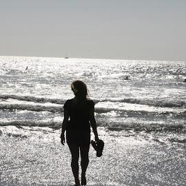 Ocean Lady by Karen Bervs - Black & White Portraits & People ( ocean, lady )