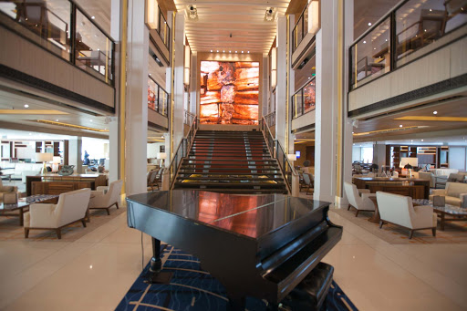 The classy Atrium of Viking Star rises three decks in the heart of the ship.