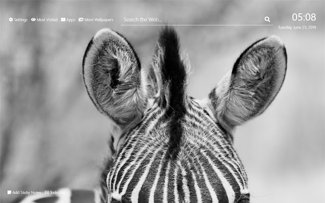 Zebra Wallpaper HD New Tab Theme