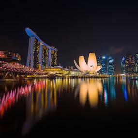 MARINA BAY by Hendrik Priyanto - City,  Street & Park  Skylines ( building, skylines, night, landscape, singapore, city )
