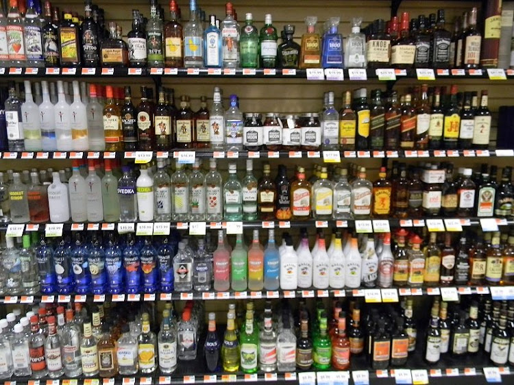 Sample of alcohol bottles in a liquor shop
