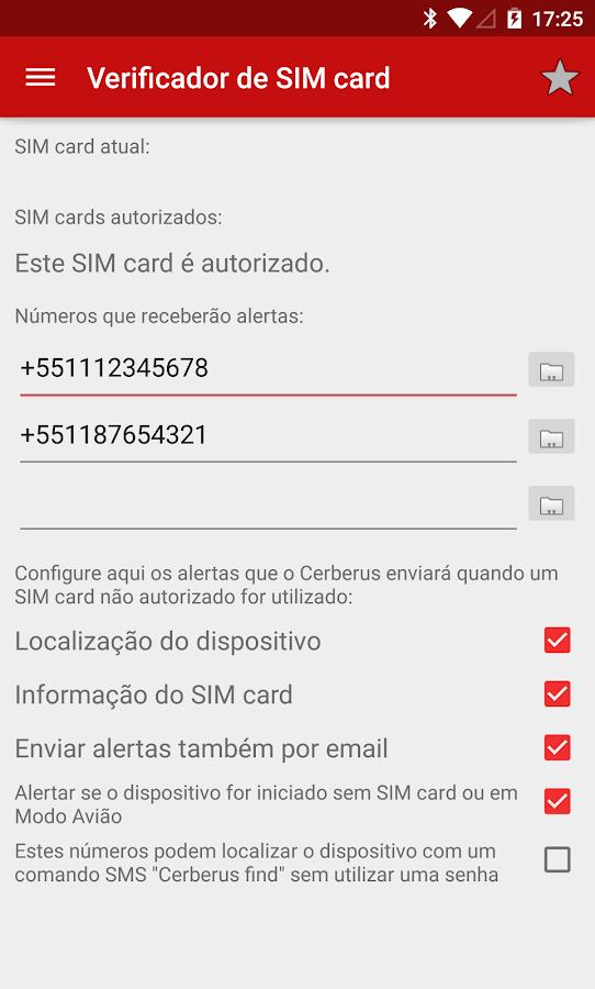 Cerberus anti-roubo - screenshot