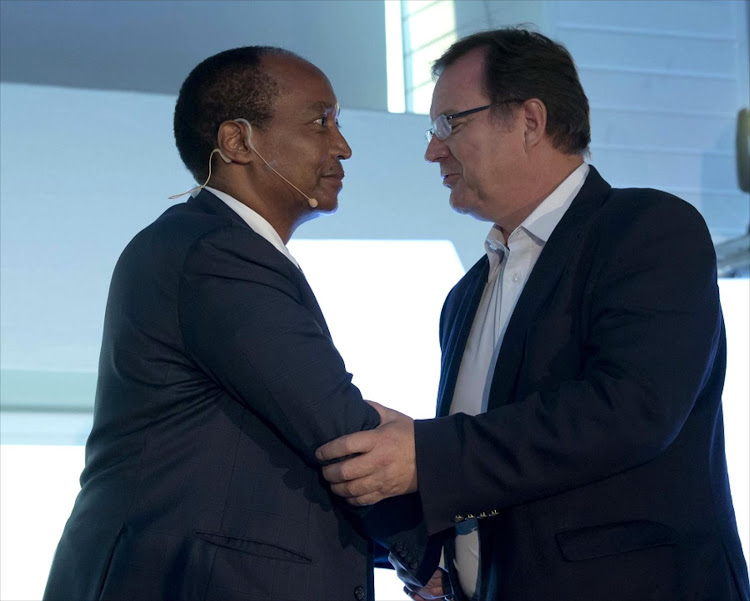 Chairman Patrice Motsepe and  CEO Johan van Zyl at the  African Rainbow Capital launch. Picture: MARTIN RHODES