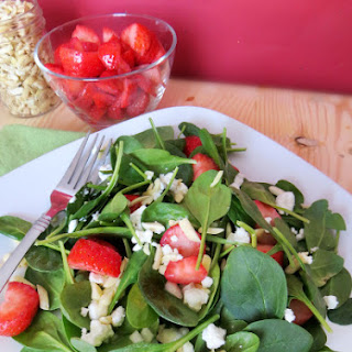 Strawberry Spinach Salad with Raspberry Vinaigrette.