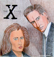 Photo: Mulder & Scully. 7 ½ in x 8 in. Prismacolor pencil & India ink on 70 lb. paper. Created back in 1997. ©Marisol McKee