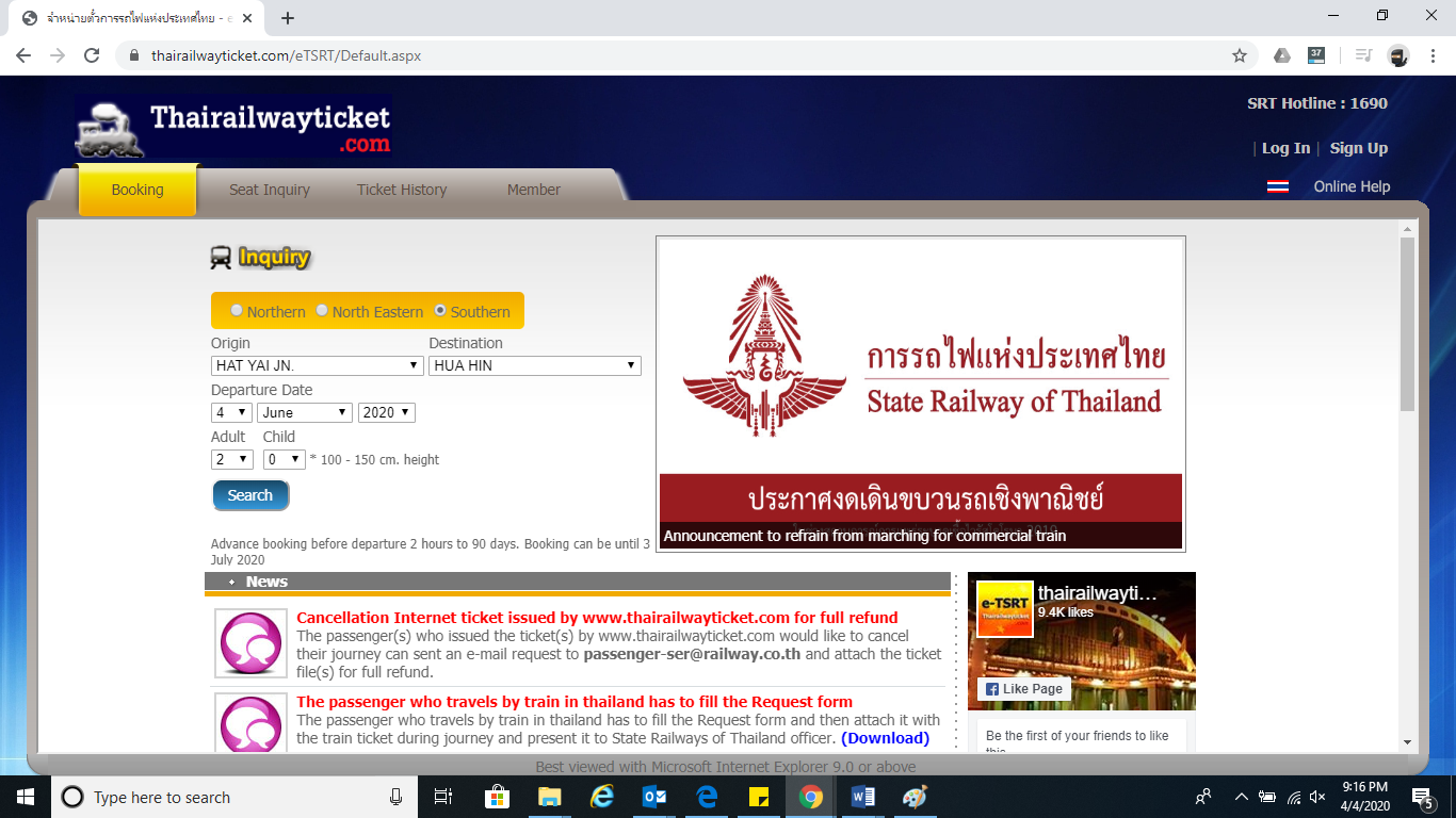 Buying of ticket for our experience on Thailand's first class train.