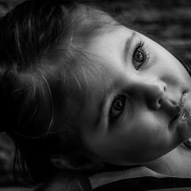 Lollipop Look by Chris Cavallo - Black & White Portraits & People ( blackandwhite, girl, black and white, toddler, eyes,  )