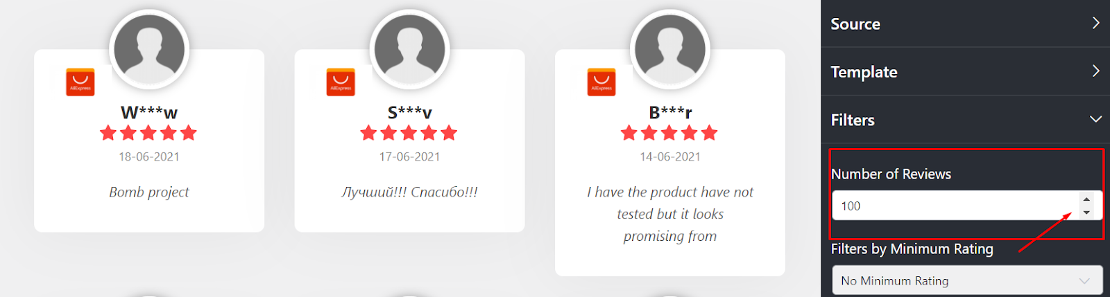 AliExpress reviews Number of reviews