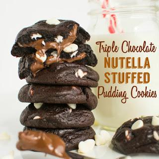 Triple Chocolate Nutella Stuffed Pudding Cookies.