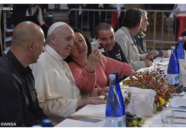 Pope Francis has lunch with the poor during his visit in Bologna, Italy in October  - ANSA