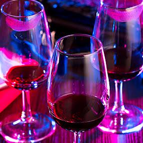 3 friends in Ladie's night - Drinking a Red Wine Still life by Warren Chirinos Pinedo - Artistic Objects Still Life ( ladies night, lightning, friends, red wine, drinking, colors, still life, disco, night )