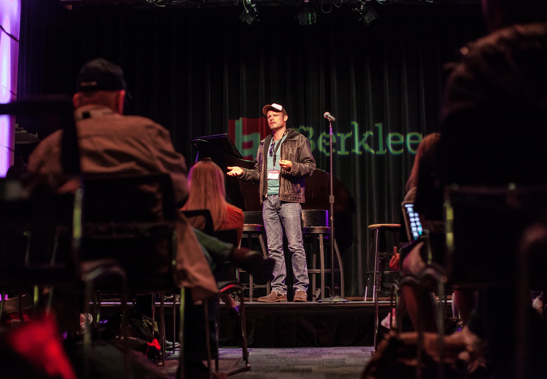 Songwriting instructor Neil Diercks leads a workshop at Berklee Onsite 2017