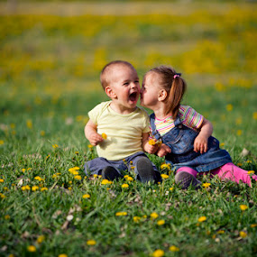 by Dušan Marčeta - Babies & Children Children Candids ( child, love, kiss, grass, green, kids, baby, smile, flower )