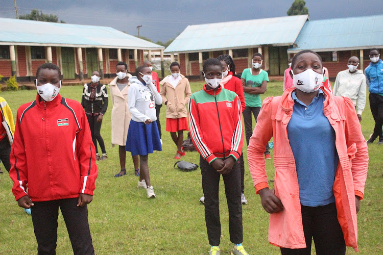 Athletes at Mogonga PAG Secondary school in Kisii which is one of the junior training camps