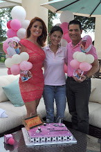 Photo: Mariana y Abel together with  Artist Paola Gallardo on their first anniversary for their show Acceso Total. Telemundo 51. Decorations by Paola Gallardo  http://www.BestPartyPlanner.net