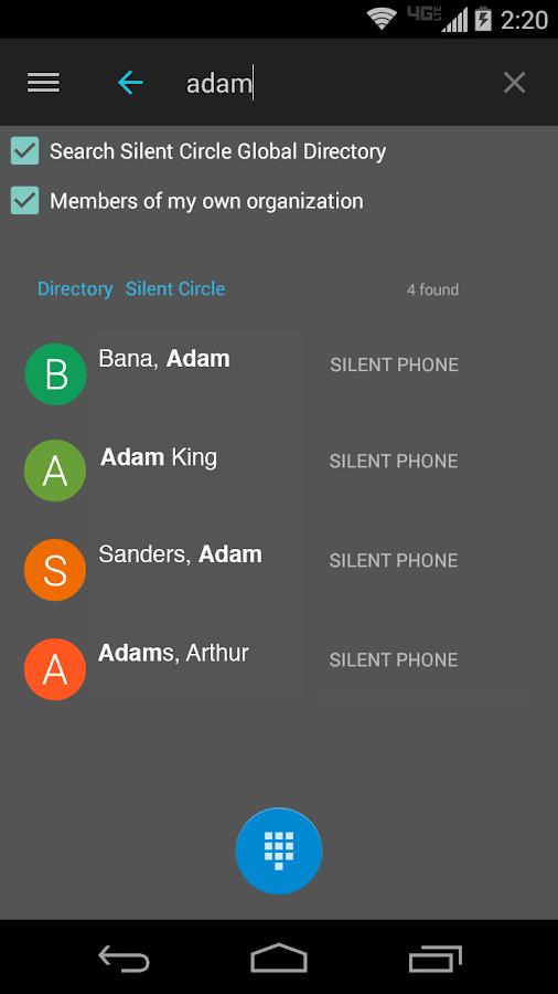 Silent Phone - private calls - screenshot