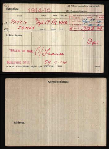 James Paton's Medal Index Card