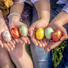 Festive Eggs by Luke Porter - Public Holidays Easter ( painted eggs, holiday, primary colors, festive, easter, eggs, hdr, tri color, hands, happy )