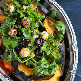 Roasted Acorn Squash with Spicy Arugula Salad