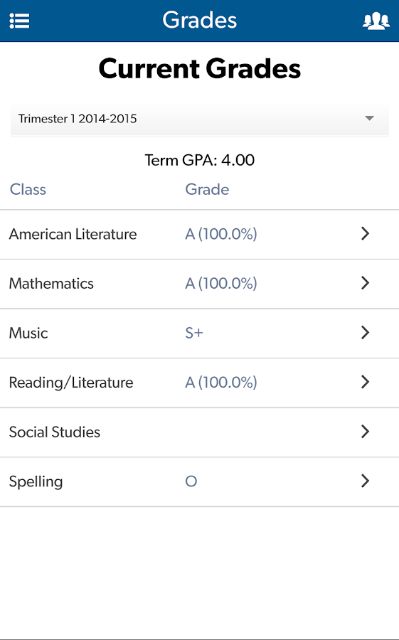 Gradelink Student/Parent- screenshot