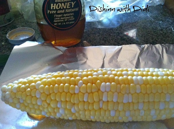 -Lay your corn cob right on top of the honey and salt and roll...