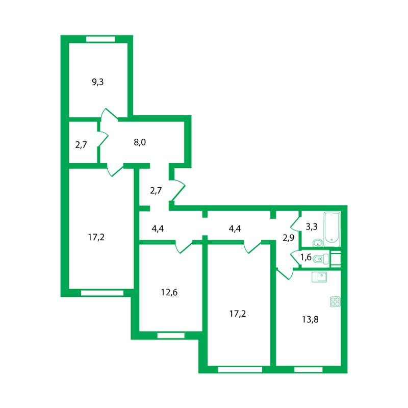 Двусторонняя 4-комнатная квартира