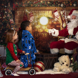 Santa's Snow Globe by Sandra Hilton Wagner - Digital Art People ( toys, children, red and green, man, girl, portrait, boy, costume, holiday scene, glow, santa,  )