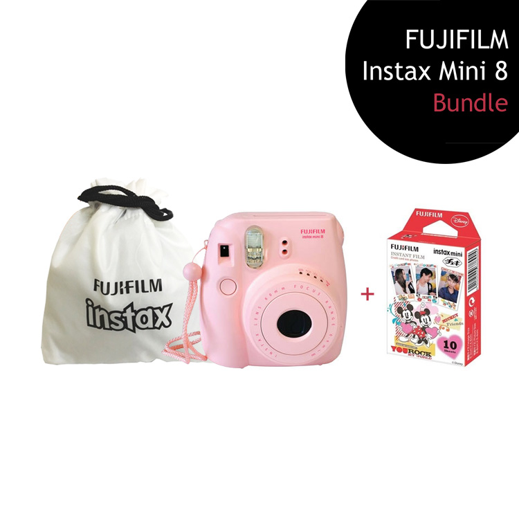 [Bundle] FUJIFILM Instax Mini 8 Camera (Pink) + Mickey Mouse Film Pack + Instax Pouch by My Pocket Net Sdn Bhd