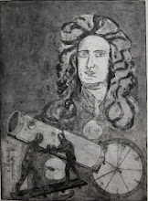 "Photo: Isaac Newton, De motu corporum (On the motion of bodies), 30 x 22"", collagraph"