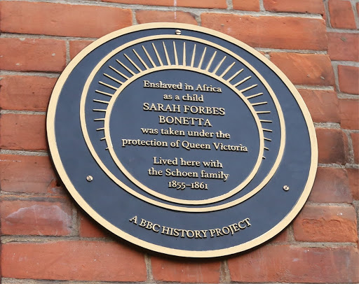 Plaque commemorating Sarah Forbes Bonetta who was under the protection of Queen Victoria