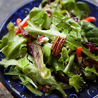 Mixed Green Salad with Pecans, Goat Cheese, and Honey Mustard Vinaigrette.